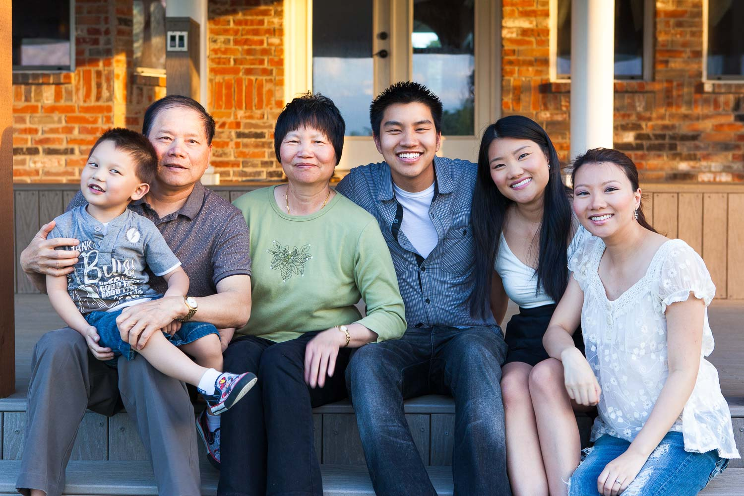Lisa's parents pictured with their grandson and three youngest children